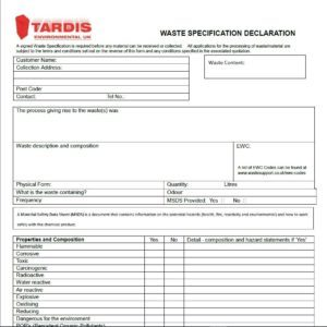 waste declaration form