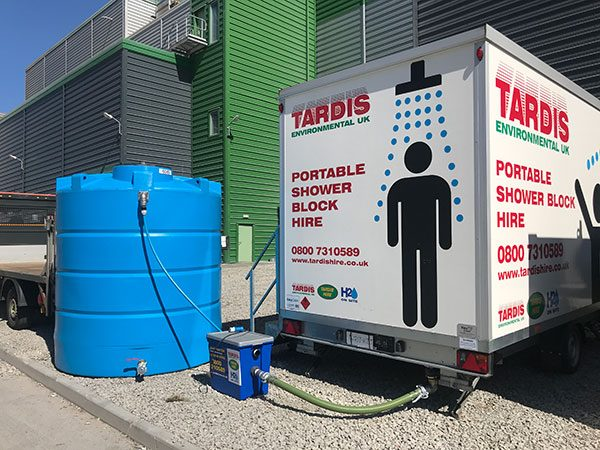 Portable Shower Trailer with Pump Setup
